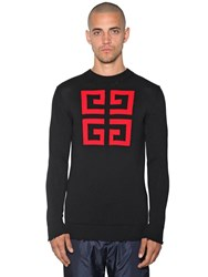 673c333cefafd Givenchy 4G Logo Intarsia Cotton Crewneck Sweater Black Red