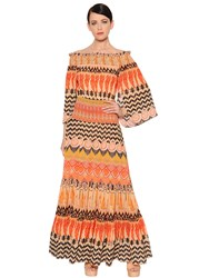 Temperley London Off The Shoulder Printed Crepe Dress