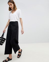 Selected Wide Leg Cropped Trouser Black