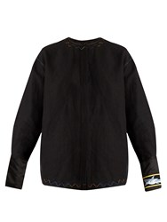 J.W.Anderson Shark Embroidered Linen Shirt Black