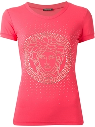 Versace Medusa Sparkle Slim Fit T Shirt Pink And Purple