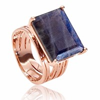 Neola Pietra Rose Gold Cocktail Ring With Labradorite
