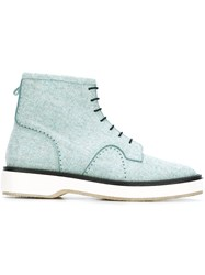 Adieu Paris Lace Up Ankle Boots Blue