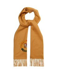 Burberry Archive Logo Embroidered Cashmere Scarf Beige