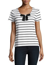 Karl Lagerfeld Striped Bow Accented Tee Soft White