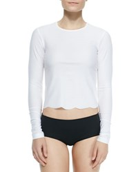 Cover Upf 50 Scallop Cut Long Sleeve Swim Tee White