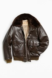 Urban Outfitters Vintage Excelled Faux Fur Lined Leather Jacket Chocolate