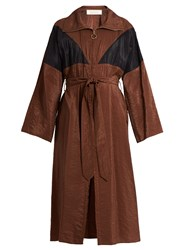 Nina Ricci Oversized Waist Tie Trench Dress Brown