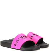 Givenchy Slide Leather And Rubber Sandals Pink