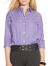 Lauren Ralph Lauren Petite Striped Button Front Tunic Purple