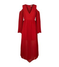 Keepsake Seasons Cold Shoulder Pleated Maxi Dress Female Red