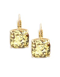 Kate Spade Small Square Glitter Leverback Earrings Gold