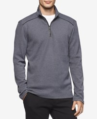 Calvin Klein Men's Jacquard Quarter Zip Sweater Light Pastel Blue