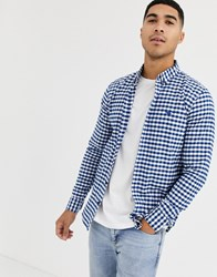 Hollister Icon Logo Muscle Fit Gingham Check Oxford Shirt In Blue White