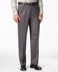 Haggar Men's Big And Tall Classic Fit Premium Non Iron Comfort Waist Pants Dk Grey