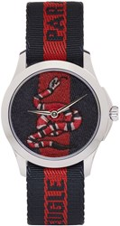 Gucci Navy And Red Laveugle Par Amour Snake Watch