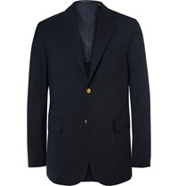 Beams Plus Blue Slim Fit Wool Blend Cordura Blazer Navy