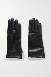 Clyde Shearling Trimmed Leather Gloves Black