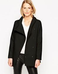 Mango Straight Cut Coat With Funnel Neck Black