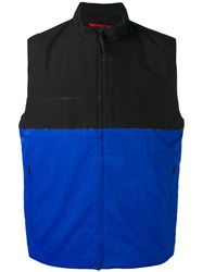 The North Face Colour Block Zipped Waistcoat Men Polyester L Blue