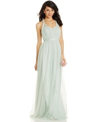 Adrianna Papell Pleated Strapless Tulle Gown Mint