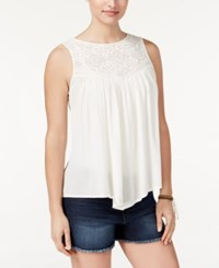 American Rag Crochet Trim Handkerchief Hem Tank Top Only At Macy's Off White