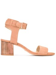 Schutz Block Heel Sandals Nude Neutrals