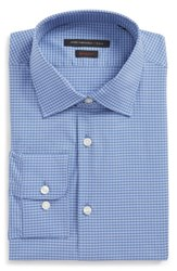 John Varvatos Men's Big And Tall Star Usa Regular Fit Stretch Plaid Dress Shirt Sky