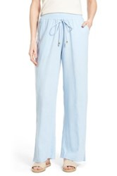 Bobeau Wide Leg Linen Blend Pants Blue