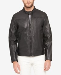 Marc New York Men's Snap Collar Perforated Leather Moto Jacket Black
