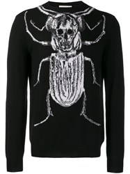 Alexander Mcqueen Beetle And Skull Knitted Sweater Black