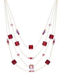 C.A.K.E. By Ali Khan Gold Tone Red Square Bead Multi Row Illusion Necklace