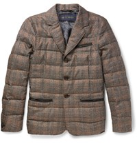 Etro Lim Fit Leather Trimmed Checked Ilk And Wool Blend Down Jacket Gray