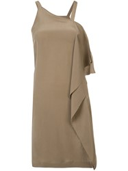 Isabel Benenato Asymmetric Drape Dress Women Silk 40 Brown