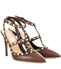 Valentino Rockstud Rolling Leather Pumps Brown