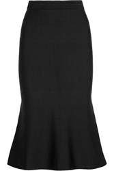 Victoria Beckham Fluted Stretch Knit Midi Skirt Black