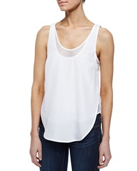 Madison Marcus Open Back Layered Mesh Tank White