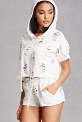 Forever 21 Destroyed Hoodie And Shorts Set White