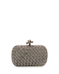 Bottega Veneta Metal Intrecciato Knot Frame Clutch Bag Silvertone