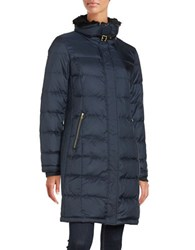 Cole Haan Faux Fur Trimmed Long Puffer Coat Rainstorm
