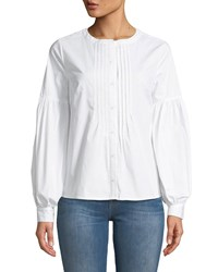 Cynthia Steffe Bubble Sleeve Button Front Blouse White