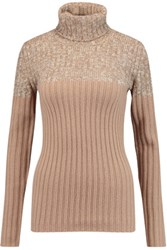See By Chloe Two Tone Wool Blend Turtleneck Sweater Sand