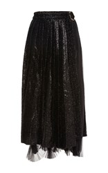 Maria Lucia Hohan Ginevra Belted Accordian Pleat Skirt Black