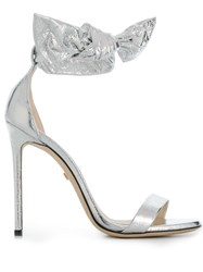 Grey Mer Open Toe Heeled Sandals Silver