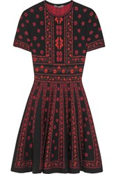 Alexander Mcqueen Jacquard Knit Mini Dress Red
