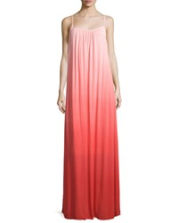 Splendid Shirred Ombre Maxi Dress Poppy Red