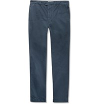 Officine Generale New Fisherman Slim Fit Garment Dyed Cotton And Linen Blend Chinos Blue