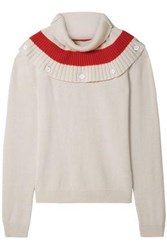 Tomas Maier Woman Convertible Striped Cashmere Sweater Neutral