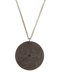 Bavna Long Pave Spinel Round Pendant Necklace Black