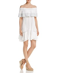 Muche Et Muchette Gavin Embroidered Off The Shoulder Ruffle Dress Swim Cover Up White Silver